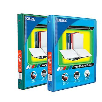 Combo24, BAZIC 1/2 Inch 3-Ring View Binder with 2-Pockets (Case pack of 24 consist 12-Green & 12-Cyan)