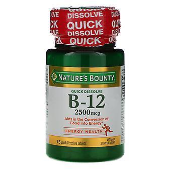 Nature's Bounty, B-12, Natural Cherry Flavor, 2,500 mcg, 75 Quick Dissolve Table