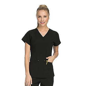 Med Couture Air Scrub Top Women, V-Neck, Black/Apple, X-Small
