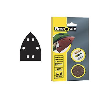 Flexovit Detail Hook & Loop Sanding Sheets 95x145mm Coarse 50g (x6) FLV26407