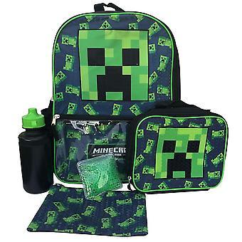 5-Pack Minecraft Ryggsäck Skolväska Med Vattenflaska Lunchväska Pennfodral