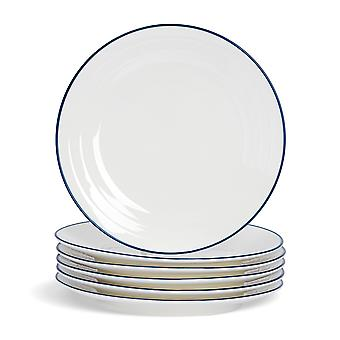 Nicola Spring 6 Piece Country Farmhouse White Dinner Plates Set with Blue Rims - 26cm