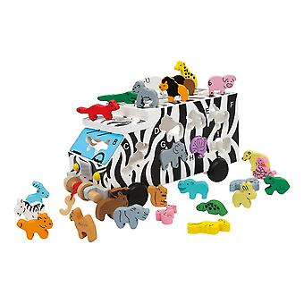 Legler Small Foot ABC Animal Bus Wooden Plug Puzzle Kid's Toy (6917)