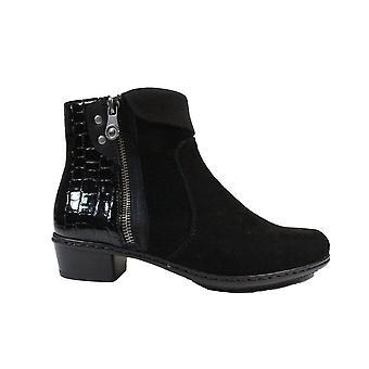 リーカー Y0752-00 ブラック スエード レザー/パテント クロック レディース アンクル ブーツ