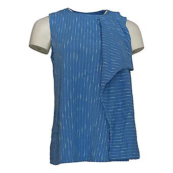 H par Halston Women's Top Striped Sleeveless Tank Blue A306896