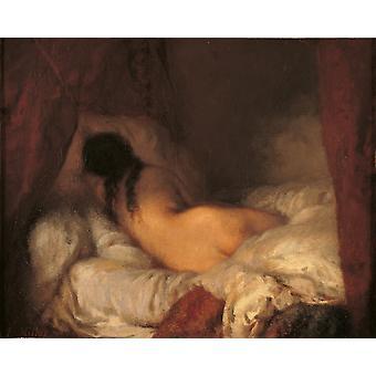 Impressão de Poster nu feminino de reclinação