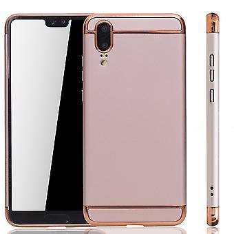 Caso di copertura del telefono cellulare per Huawei P20 paraurti 3 in 1 copertura cromata rosa oro