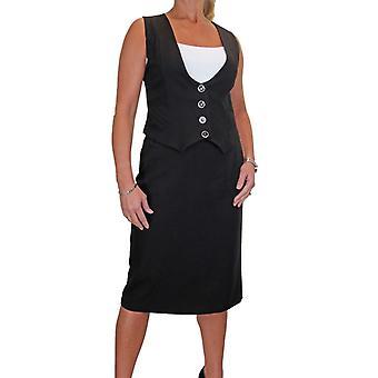 Frauen's Smart voll gefüttert Weste Rock Anzug Button Down waschbare Abend Business Office 10-20