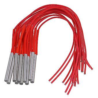 10 x yksipäinen patruuna muottilämmitin elementti kaksijohtoinen punainen 220V 120W 6x50mm