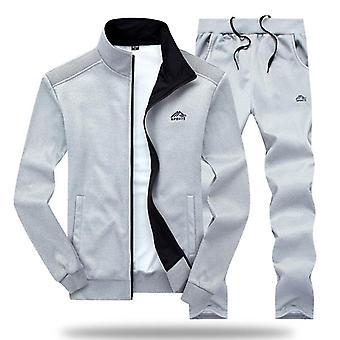 Men Polyester Sweatshirt Spring Sporting Fleece Jacket + Pants Mens Sports Suit