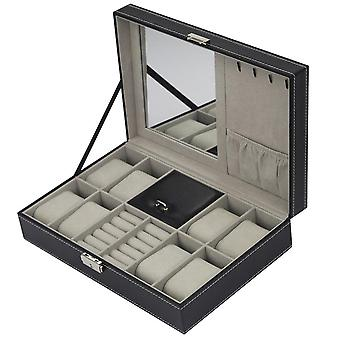 Multi-grids Leather/carbon Fiber Watch Box, Winder Watch Storage Organizer