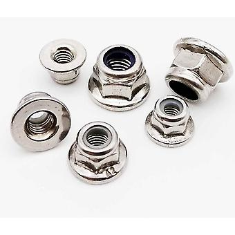 Carbono 304 A2-70 Acero inoxidable, Brida hexagonal Nylon Insert Lock Nut Autobloqueo