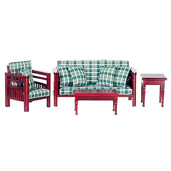 Dolls House Mahogany Green Plaid Check Family Living Room Furniture Set