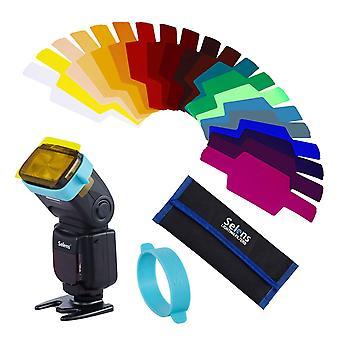 Selens se-cg20 universal speedlite 20 pcs gels filter sets lighting filter combination for camera fl