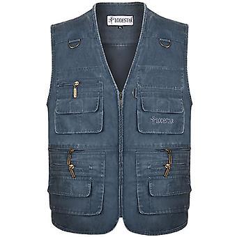 New Casual Cotton Sleeveless Vest With Multi Pocket Photograph Waistcoat