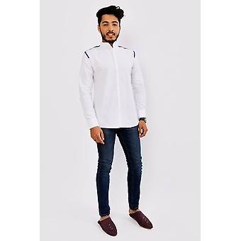 Ghani men's long sleeve mandarin collar shirt in white