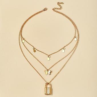 Rock Lock Necklace, Women Chain Punk Gothic Choker Necklace, Collar Statement