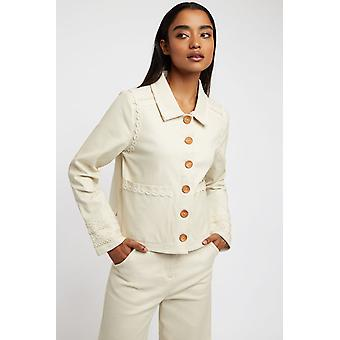 Louche Womens Koto Embellished Twill Jacket Cream