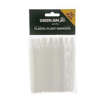 Vihreä Jem Garden muovi kasvi markkerit X 50