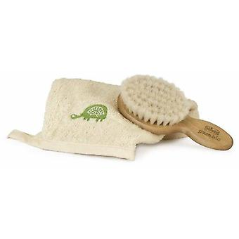Chicco September Pure Bio Hair Brush with Natural Bristles + Cotton Glove