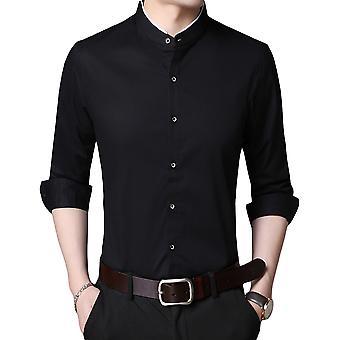 YANGFAN Men's Stand Collar Chemise en coton à manches longues