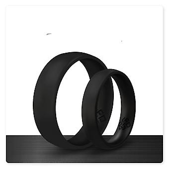Smooth Black Breathable Silicone Ring And Women