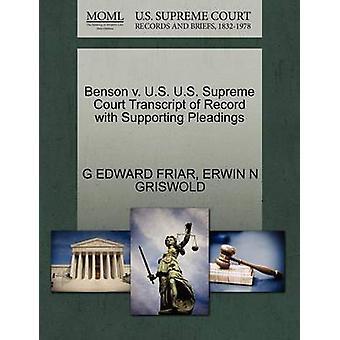 Benson V. U.S. U.S. Supreme Court Transcript of Record with Supportin