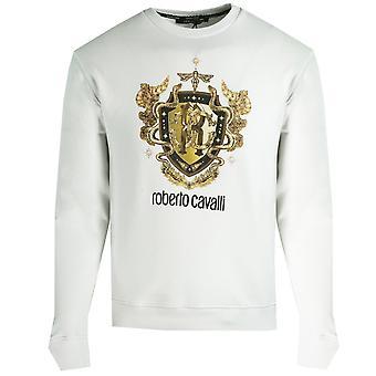 Roberto Cavalli RC Gold Shield Logo White Jumper
