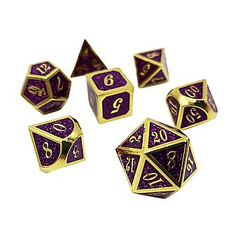 Royal Rollers - 7 Piece Gold And Purple Metal Dice Set