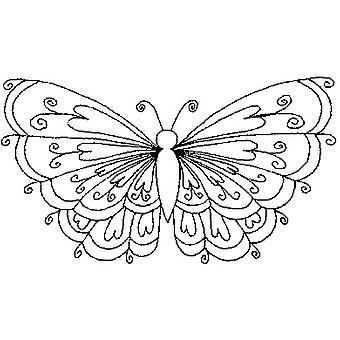 Sello montado en madera de mariposa corazón 3D