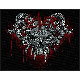 Slayer Patch demoniska Band logotyp officiella nya svarta vävd bomull (10 x 7,5 cm)