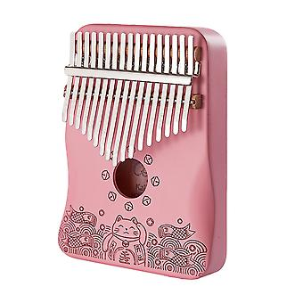 17 Keys Kalimba Thumb Piano Lucky Cat Musical Instrument For Beginners Pink