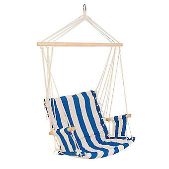 Krzesło wiszące z podłokietnikami - 46x50 cm - Niebiesko-beżowe paski