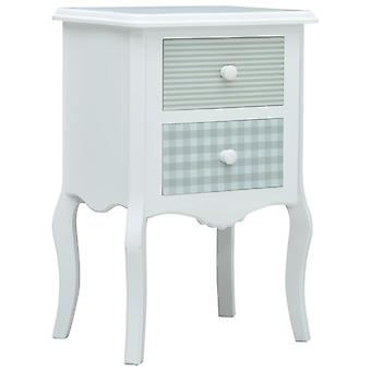 vidaXL Bedside Table White and Grey 43 x 32 x 65 cm MDF