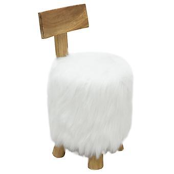 vidaXL Stool White Solid Wood Teak