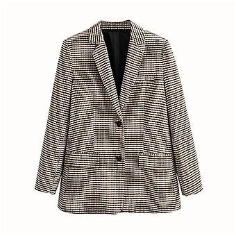 Mujeres plaid otoño, falda de cintura alta chaqueta de dama de oficina