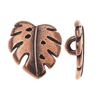 Pewter Button, Monstera Leaf 16x14mm, 1 knap, antik kobber, af TierraCast