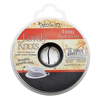 Lovely Knots - Asian Knotting Cord 1mm Thick - Black (50 Yards On Bobbin)