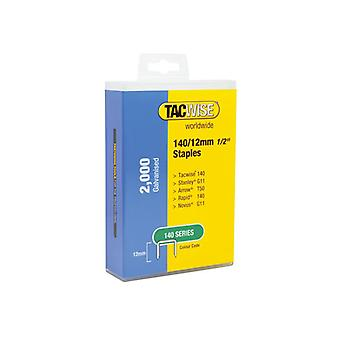 Tacwise 140 Galvanised Staples 12mm (Pack 2000) 1419