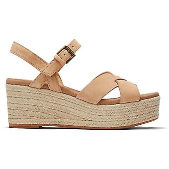 TOMS Pil damer Läder Wedge Sandaler Naturliga