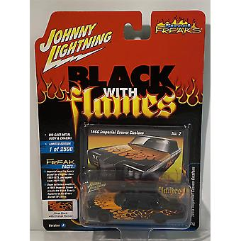 1966 Imperial Crown Custom Black with Orange Flames Johnny Lightning 1:64 JLSP018A