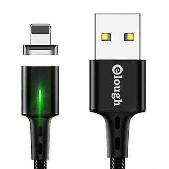 Elough iPhone Lightning Magnetic Charging Cable 2 Meters with LED Light - 3A Fast Charging Braided Nylon Charger Data Cable Android Black