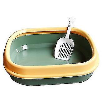 Macska alom doboz Félig zárt Macska WC alom doboz macska alom lapáttal (sötétzöld)