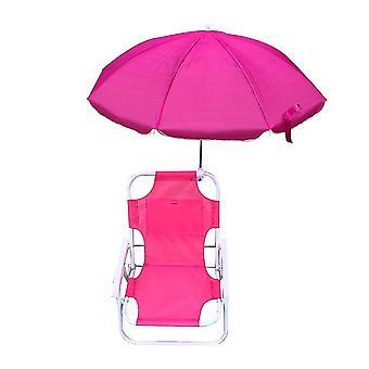 Children's Beach Folding Chair Parasol Portable Recliner(Pink)