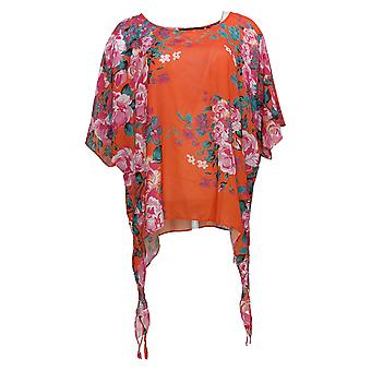 Colleen Lopez Women's Top Printed Poncho Red 704512