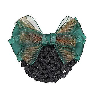Frauen Bowknot Net Bun Snood Satin Blume Haar Spanbe Haarnadel