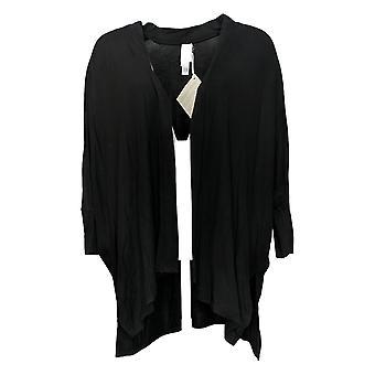 Wynne Layers Women's Sweater Unconstructed Open Knit Cardigan Black 694606