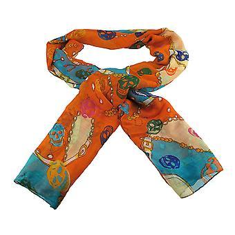 轻质纱布骷髅和链印花时尚围巾