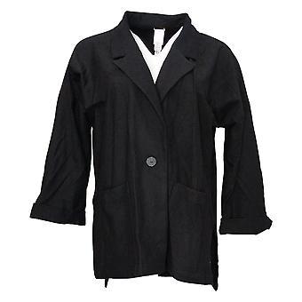 WynneLayers Av MarlaWynne Kvinner Overdimensjonert Buttoned Blazer Black 634296