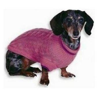 """Fashion Pet Cable Knit Dog Sweater - Pink - XXX-Small (4"""" From Neck Base to Tail)"""
